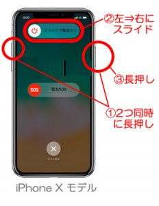 iPhoneX 電源OFF 手順