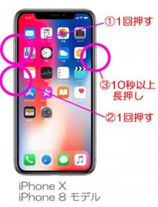 iPhoneX 強制再起動の手順